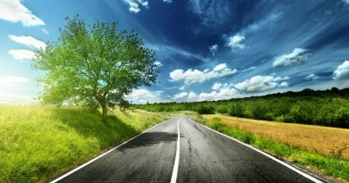 road_asphalt_line_tree_sky_clouds_sun_light_shadow_63294_1920x1080