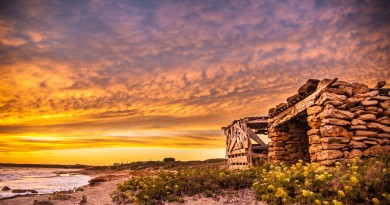 houses-stone-wooden-huts-beach-sunset-flowers-wood-sea-yellow-wallpaper-pictures-free