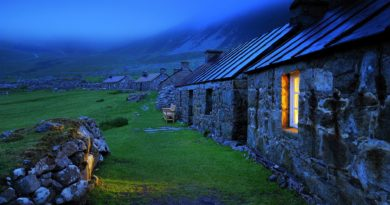 Light Nature Fields Photography Shine Dark Houses Stone Fog Night Window Green Highland Landscape Rocks Wallpaper Pictures Free