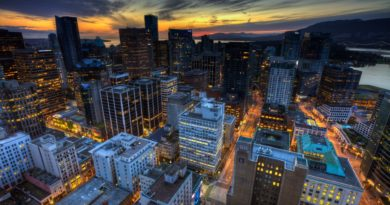 Sunset Vancouver Peaceful Ocean Skyscrapers Building Evening City Lights Canada Road Splendor Sky Nature Skyline Architecture Beauty Beautiful Lovely Buildings Clouds View Full HD Wallpaper