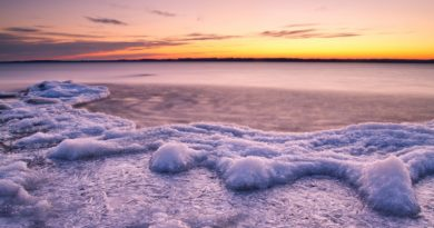 sunset-water-river-lake-next-ice-floes-cool